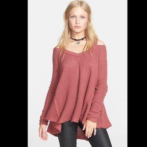Free People Moonshine V-Neck Sweater in Dark Rose
